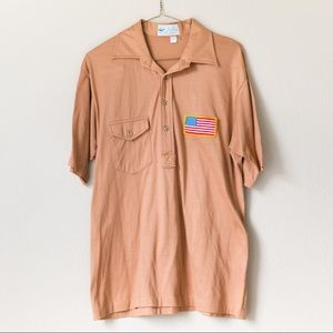 Vintage Men's 70s Tan USA Patch Polo